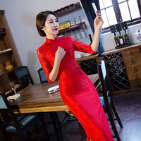 New Cheongsam Dress Long Red Lace Evening Dresses Vintage Elegant Lace Lady Chinese Traditional Cheongsam China