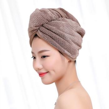 Magic Microfiber Hair Fast Drying Dryer Towel Bath Wrap Hat Quick Cap Turban Dry Button Bath Turban