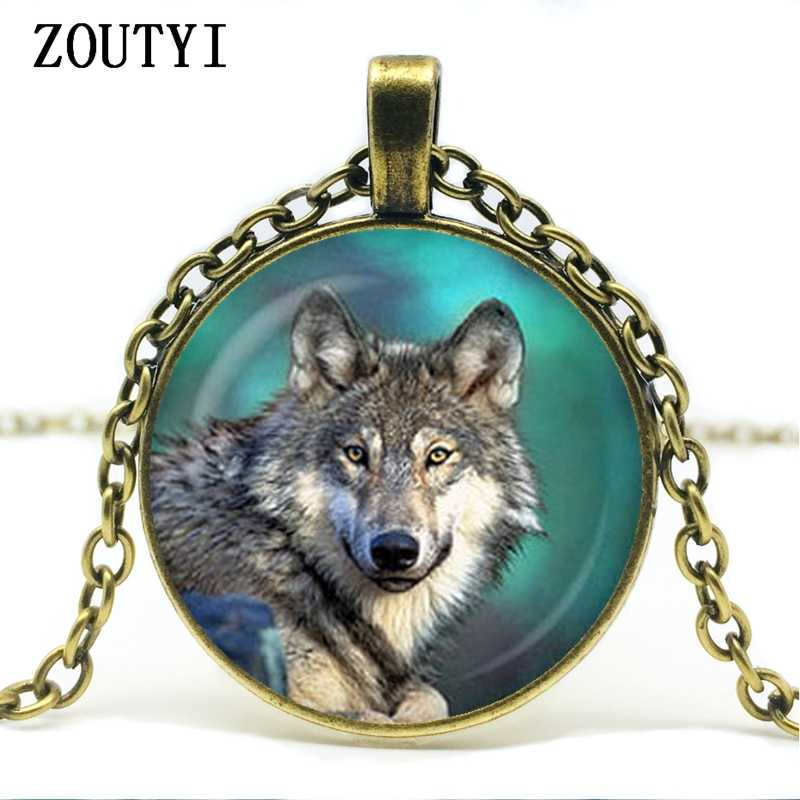 2018/thủ công mỹ nghệ necklace retro wolf mặt dây chuyền vòng cổ bạc mạ chain glass cabochon vòng cổ.
