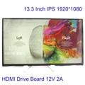 13.3 Polegada 1920*1080 IPS Tela Car Raspberry Pi 3 Xbox LCD módulo MP4 Monitor HDMI Placa do Drive Set Kit DIY 1080 p LEVOU Displayer
