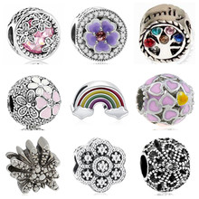 Btuamb Small Statement Crystal Flower Umbrella Snowman Rainbow Enamel Beads Fit Pandora Original DIY Bangle Femme Making Jewelry(China)