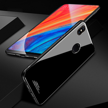 Tempered Glass Case for Xiaomi Mi Mix 2S Hard Back Cover Soft TPU Silicone Bumper On For Mix2S
