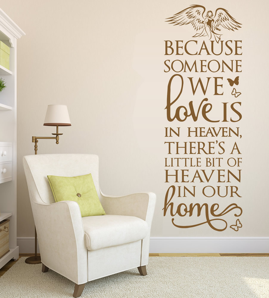 Because Heaven Angel Wall Stickers Home Decor Living Room Bedroom Wedding Wall Art Decoration In Memory Vinyl Wall Decal A035 Stickers Home Decor Wall Stickers Home Decorwall Art Decor Aliexpress