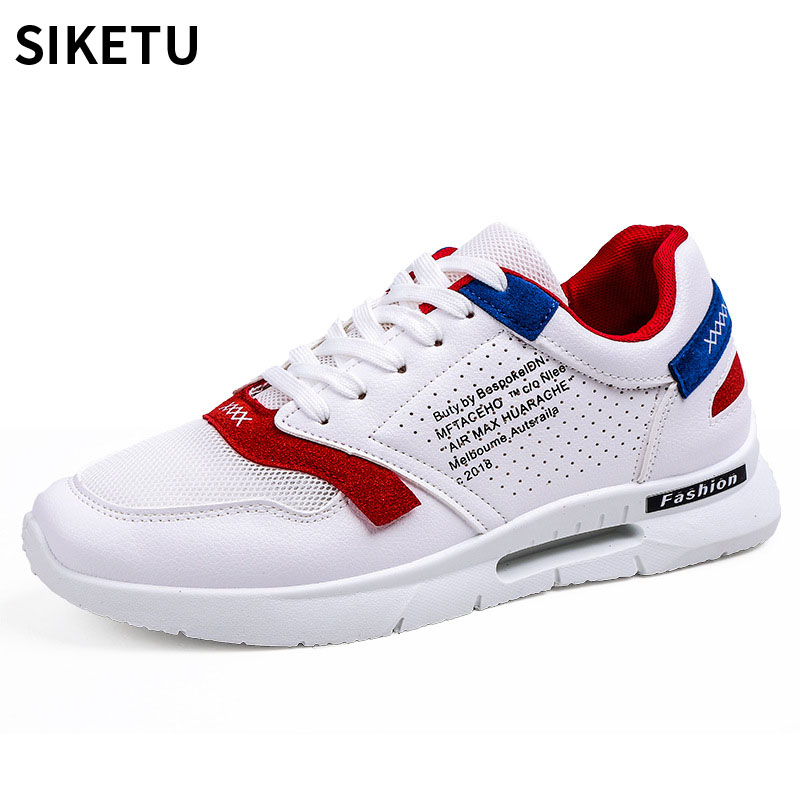 Men Casual Mesh Shoes Patchwork Leahter Lace-Up Summer Comfortable Shoes Mens Soft Lightweight Outdoor Sneakers Zapatos Hombre