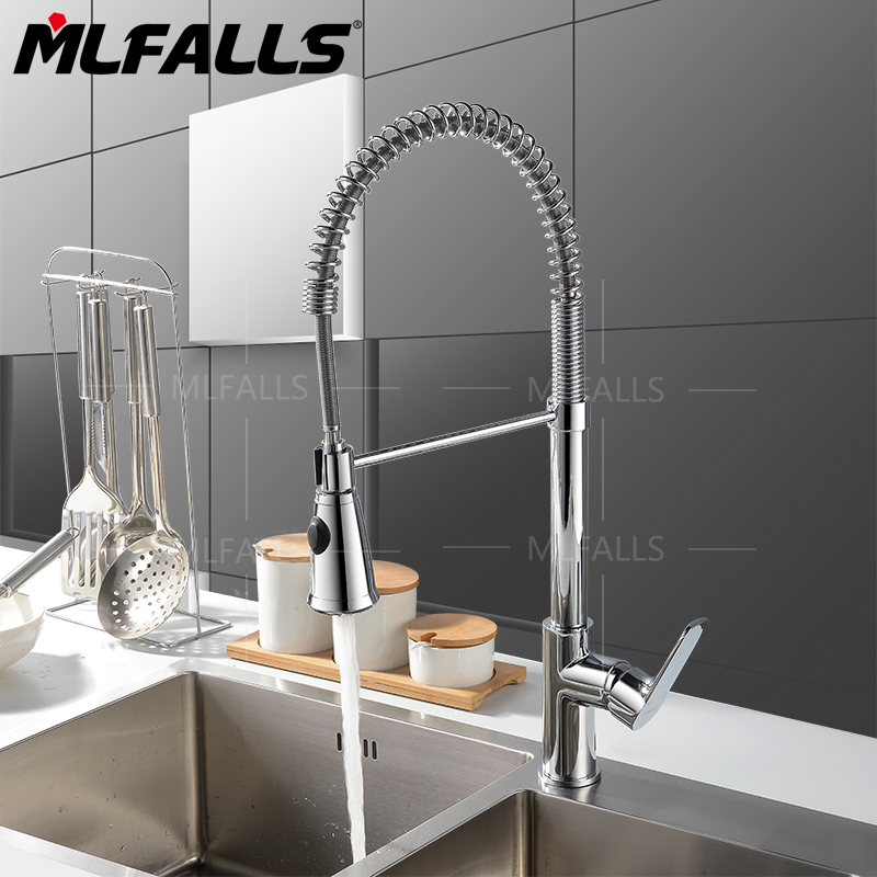 Contemporary Chrome Finish One Hole Single Handle Pull-down Kitchen FaucetContemporary Chrome Finish One Hole Single Handle Pull-down Kitchen Faucet