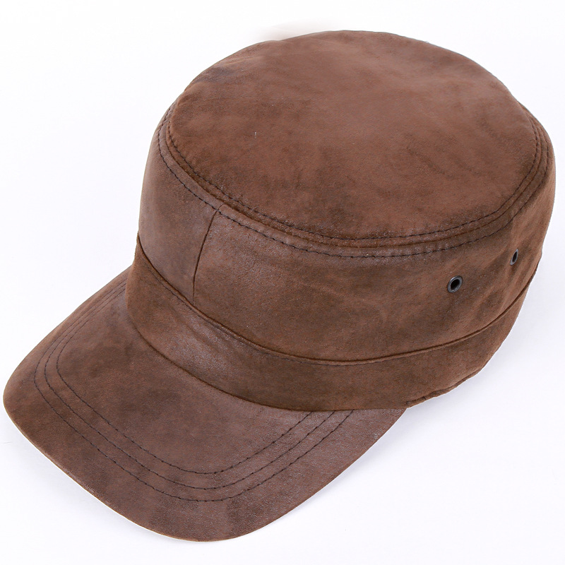 a05e22ca185a High quality Genuine Leather sheepskin hat cap casual casual military hat  men and women autumn winter solid flat snapback caps-in Military Hats from  Apparel ...