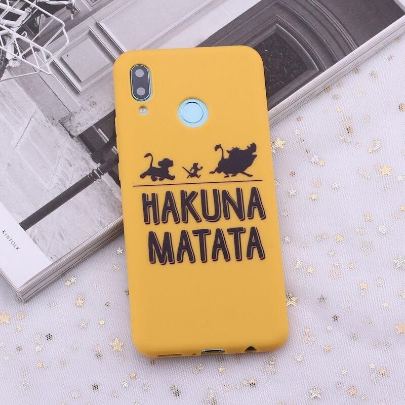 Для huawei Honor mate 10 20 Nova P20 P30 P Smart Hakuna Matata Король Лев карамельный силиконовый чехол для телефона Capa Fundas Coque - Цвет: Yellow