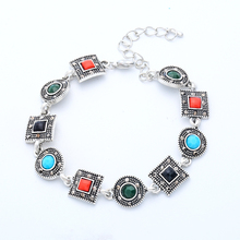 H:HYDE Luxury Multi-colored Antique Silver Color Chain Link Bracelet for Women Ladies Shining Crystal Zircon Rhinestone Jewelry