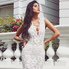INDRESSME 2017 New Sexy Lace-Up Deep V Summer White Lace Dress Sleeveless