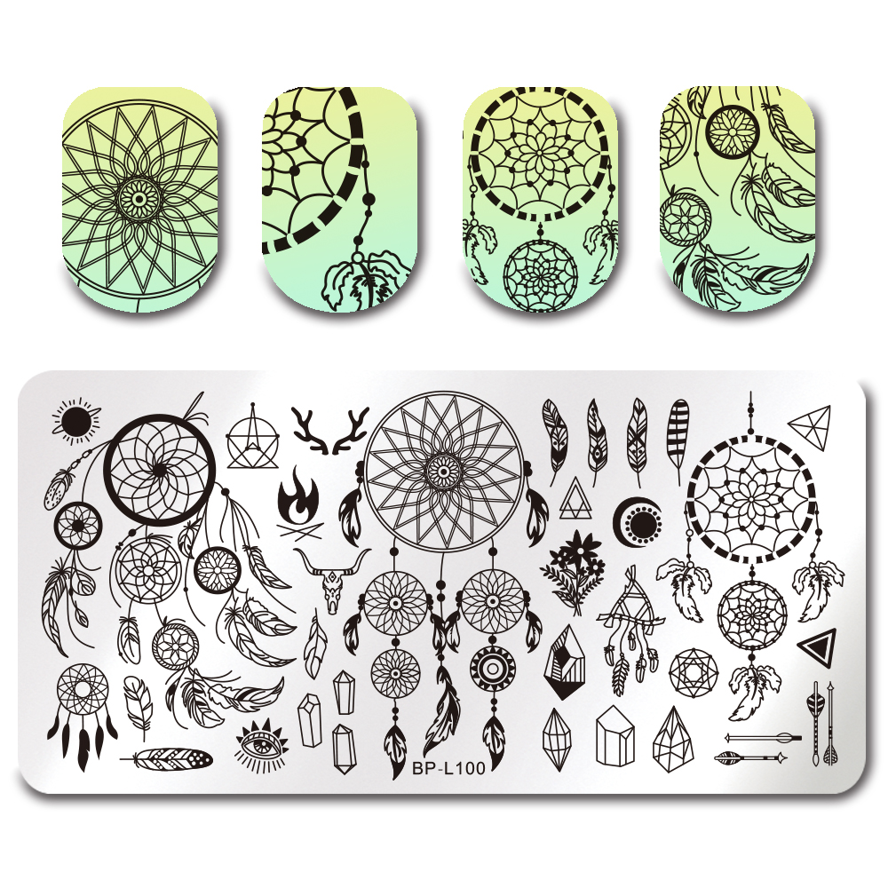 BORN PRETTY Dream Catcher Stamping Template Flower Butterfly Cat ...