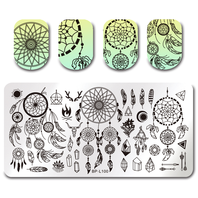 born pretty dream catcher stamping template flower butterfly cat