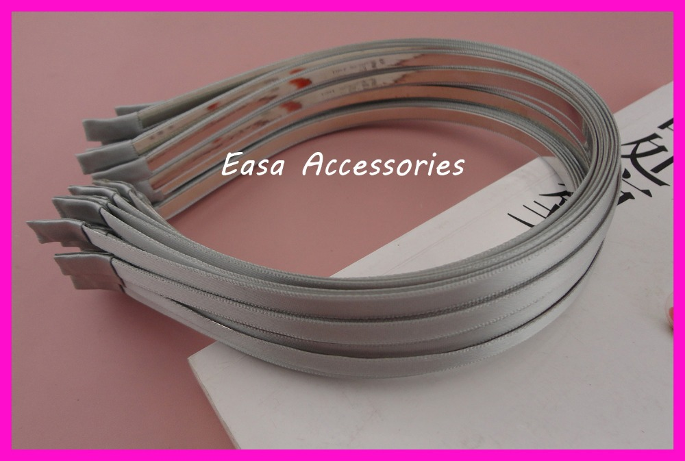 10PCS 5mm Silver Gray satin ribbon Single Covered plain metal hair headbands,Grey fabric lined hairbands