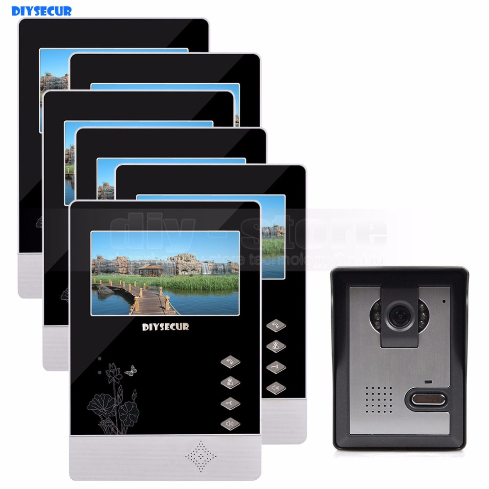 DIYSECUR 4.3 inch Indoor Monitor + 600 TVLine HD Camera IR Night Vision Video Door Phone Video Intercom 1V6
