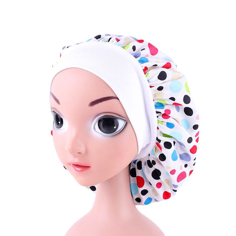 Cute Pattern Kids Satin Wide brimmed Elastic Nightcap Turban Chemo Hat Girl 39 s Wide Elastic Band Solid Night Sleep Cap in Hats amp Caps from Mother amp Kids