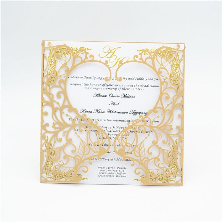2017 Latest Design Champagne Gold Laser Cut Wedding