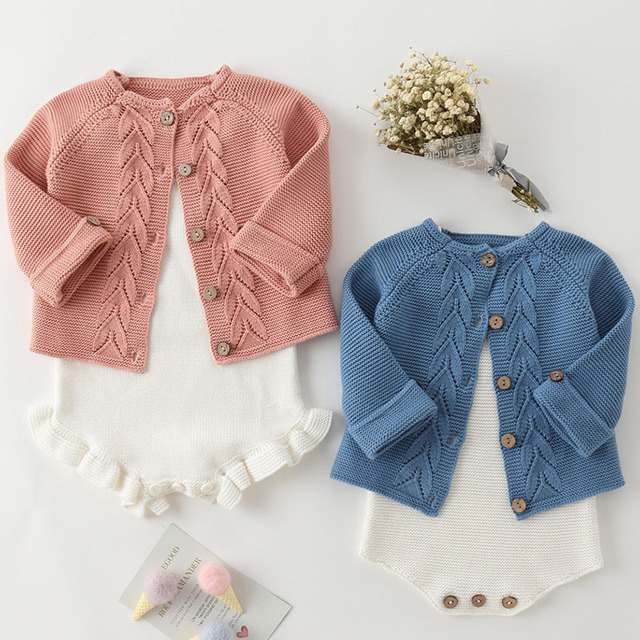 Spring Baby Girls Clothes Baby knitted Romper Set Newborn Baby Girl Cardigan Infant Boys Sweater Cotton Coat Baby Jumpsuit