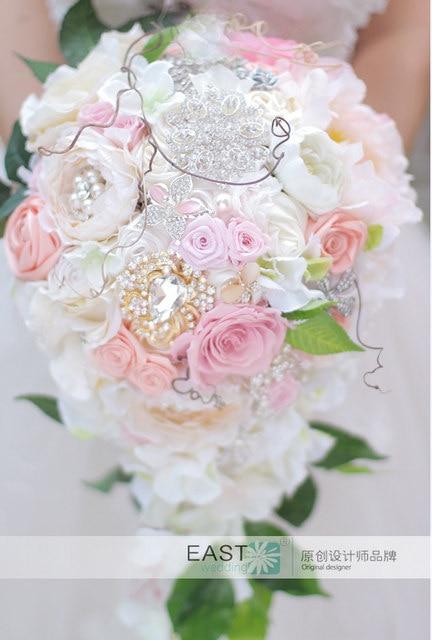 Belo Buquê De Casamento Buquê De Noiva Estilo Cachoeira Imortalizado Rose  Bouquet Rosa Buquê Da Noiva Personalizável