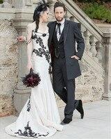 Unique 2016 New Gothic Sweetheart White Black Lace Taffeta Mermaid Wedding Dress Bridal Gown Robe De