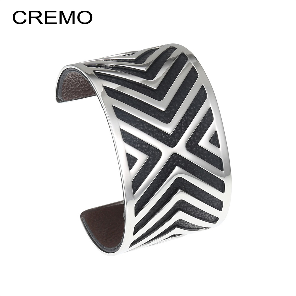 Cremo Conveyor Bangles For Women Stainless Steel Bracelet Argent Femme Manchette Bangle Interchangeable Bracelet Leather Jewelry cremo labyrinth bangles stainless steel bracelets femme bijoux manchette reversible 40mm wide maze leather bangle pulseiras