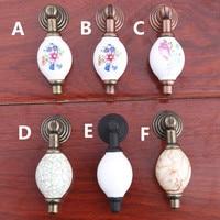 Vintage Rural Ceramic Drawer Shoe Cabinet Knobs Pulls Black White Bronze Shaky Drop Pendant Dresser Door