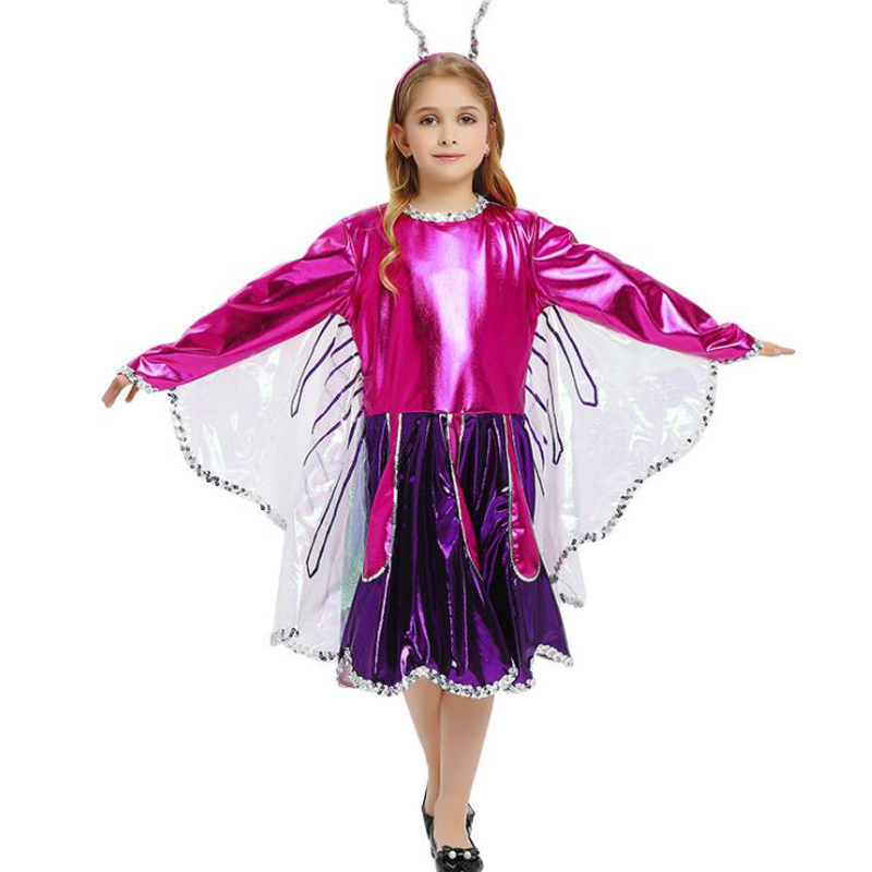 High quality Purple Butterfly ladyb Fairy Costumes Girls Kids Forest Woodland Green Elf Fairy Costume Cosplay Tinker Bell Dress
