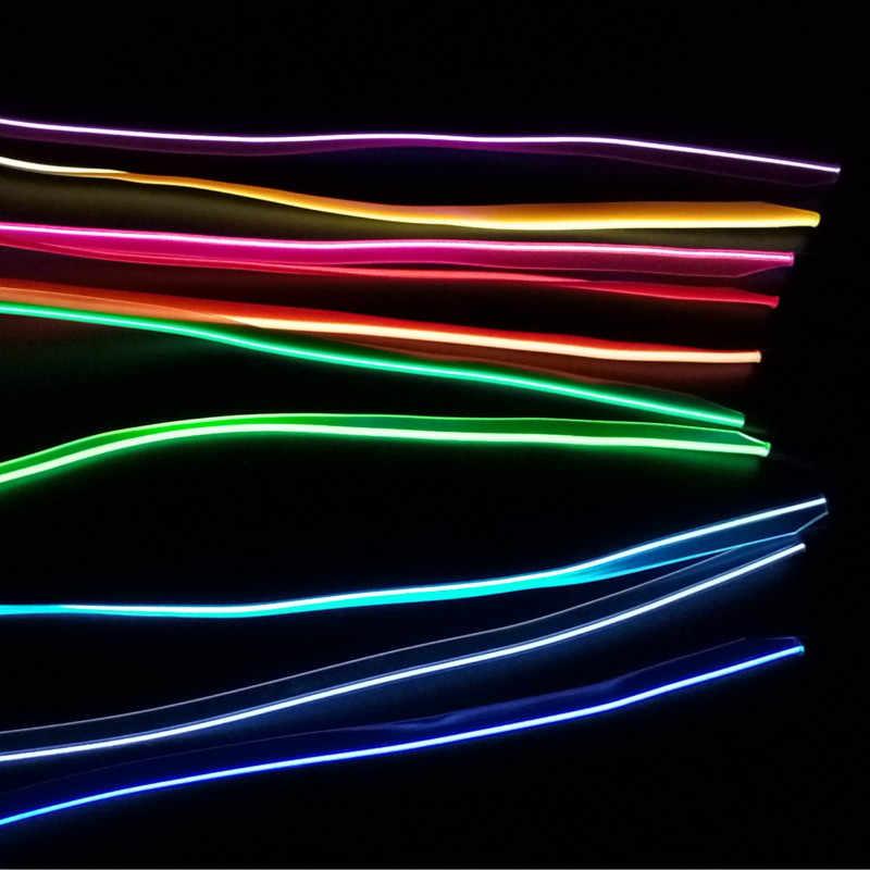 1/2/3/5m coche USB 2,0 12V LED luces frías flexibles de neón EL cable Auto lámparas coche costura borde tiras línea decoración Interior lámparas