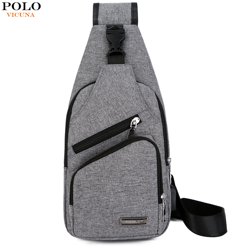 VICUNA POLO New Brand Canvas Unisex Messenger Bag Man Casual Chest Bag With Headphone Hole Anti-theft Travel Woman Sling Bag anti theft dslr camera sling chest bag red