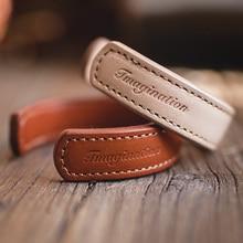 Maden Brief Leder Manschette Armbänder Für Männer Einstellbare Handmade Armband Khaki Armband Braun Druck Indische Thunderbird Schmuck