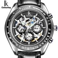 תת חיוג גברים שעונים מכאניים אוטומטיים יוקרה IK מותג פונקצית תצוגת 24 שעות תאריך relojes שעון שלד עור אמיתיים