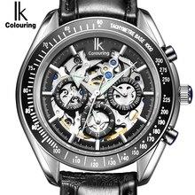 IK Marca de Lujo Relojes Mecánicos Automáticos de Los Hombres Sub Dial de función Fecha 24 horas Display Cuero Auténtico Esqueleto Reloj relojes