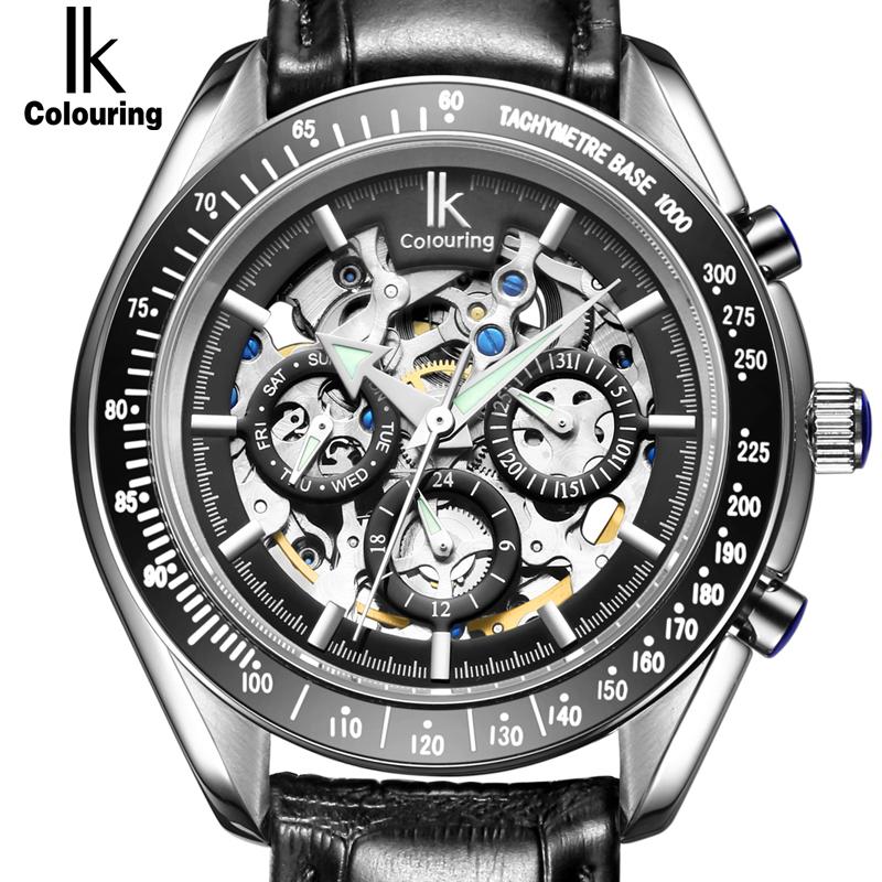 Prix pour IK Marque De Luxe Automatique Mécanique Montres Hommes Sous Cadran fonction Date 24 heures Affichage Véritable En Cuir Squelette Montre relojes