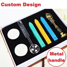 Custom Design Metal Handle Wax Stamps Valentine's Day Birthday Gift Ancient Wax Seal Deluxe Suit Retro Wedding Invitations(China)