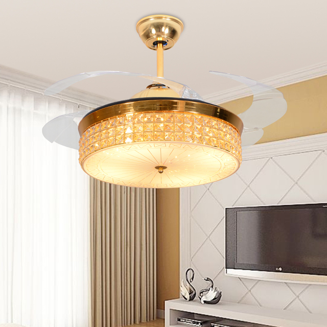 Led hidden blade crystal acrylic stainless steel ceiling fan led led hidden blade crystal acrylic stainless steel ceiling fan led lampled lightceiling aloadofball Image collections