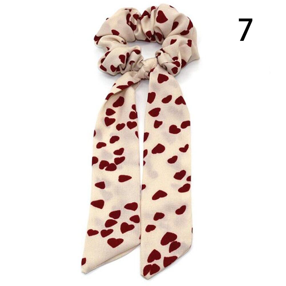 Богемные резинки для волос в горошек с цветочным принтом и бантом, женские эластичные резинки для волос, повязка-шарф, резинки для волос, аксессуары для волос для девочек - Цвет: 7