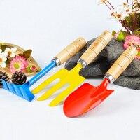 Набор инструментов для садоводства с ручкой, садовый набор из 3 предметов, детские небольшие садовые инструменты, набор ковшков, бороны, лоп