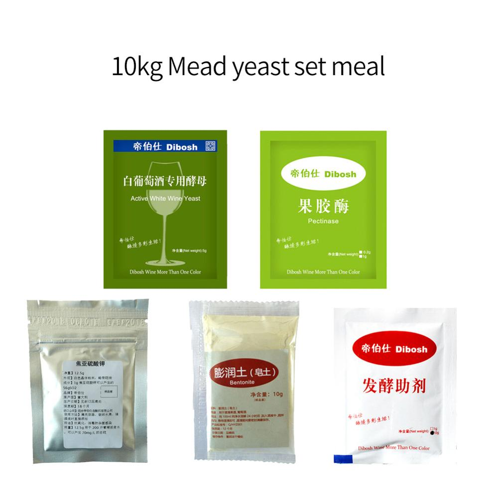 10kg mead set meal Pectinase fermentation aid white wine yeast bentonite Potassium metabisulfite Winemaking accessories yeast image