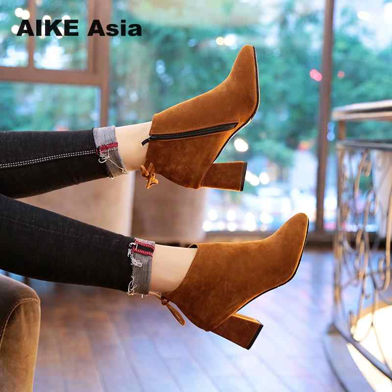 121739367 Plus Size 34-45 New 2018 Autumn Winter Fashion Woman Boots High Heels Women  Leather
