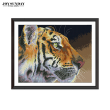 Joy Sunday Tiger Cross Stitch Patterns DIY Needlework Aida Canvas for Embroidery Kit Counted Stitched 14ct 11ct DMC Thread
