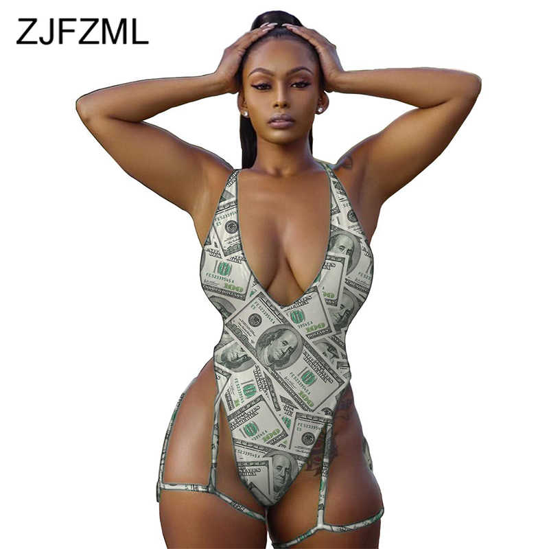 Letter Print Sexy Skinny Bodysuits Women Spaghetti Strap Backless One Piece Overall  Summer Deep V Neck Sleeveless Beach Romper
