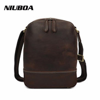 NIUBOA Vintage Fashion Mens Leather Bag Brand Casual Business Mens Messenger Bag Promotion High Quality New Travel Crossbody Bag