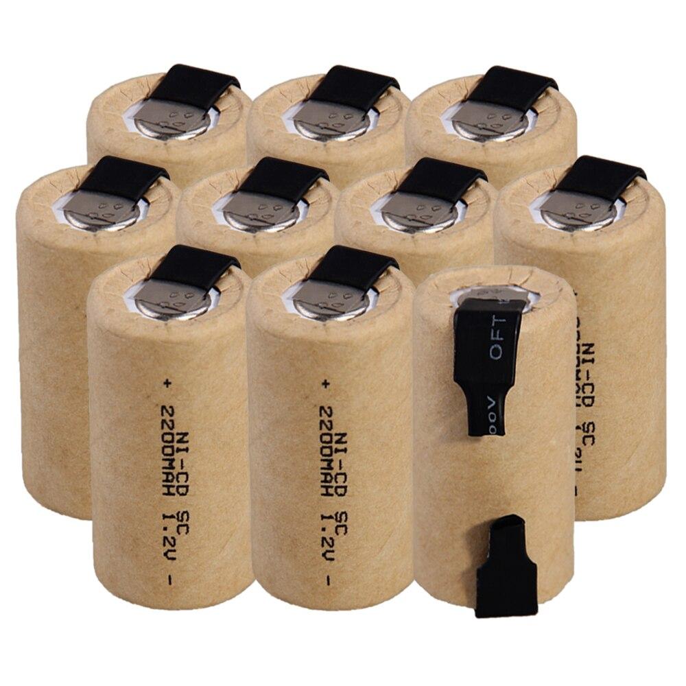 Prix le plus bas 10 pièces SC batterie 1.2 v batteries rechargeables 2200 mAh nicd batterie pour outils électriques akkumulator