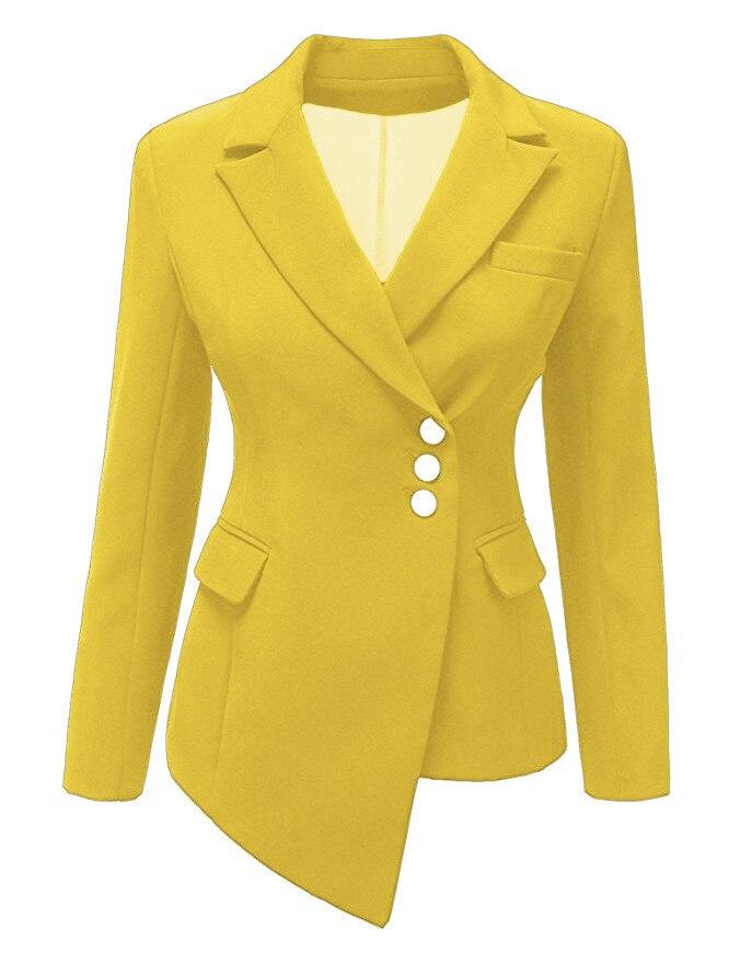 Ladies Black White Pink Yellow Grey Red Blazer Spring Autumn Women Irregular Suit Jacket Long Sleeve Woman Casual Blazer Jacket