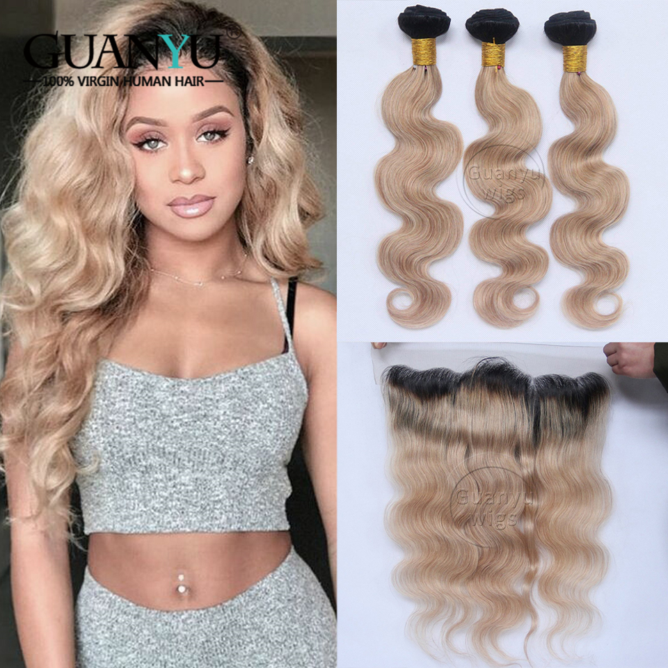 Guanyuhair #1B/27 Ombre Malaysian Remy Hair Body Wave Bundles With 13x4 Lace Frontal Ear To Ear Human Hair Weave
