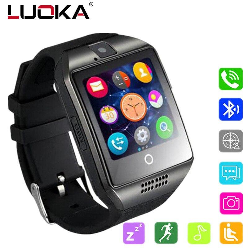 LUOKA Bluetooth Smart Uhr Männer Q18 Mit Touchscreen Große Batterie Unterstützung TF Sim-karte Kamera für Android-Handy Passometer