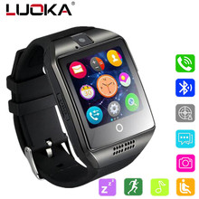 LUOKA Bluetooth smart watch mężczyźni Q18 z ekranem dotykowym obsługa dużej baterii TF karty Sim kamera do Androida telefon Passometer tanie tanio 1 54inch Czas światowy Uśpienia tracker Kalkulatory 24 godzin instrukcji Tracker fitness Wiadomość przypomnienie Kalendarz