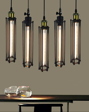 цена на nordic retro Loft Style Iron Cage Dining Room Pendant lights Vintage Edsion Bulb Lighting Bar Cafe decor hanging light fixtures