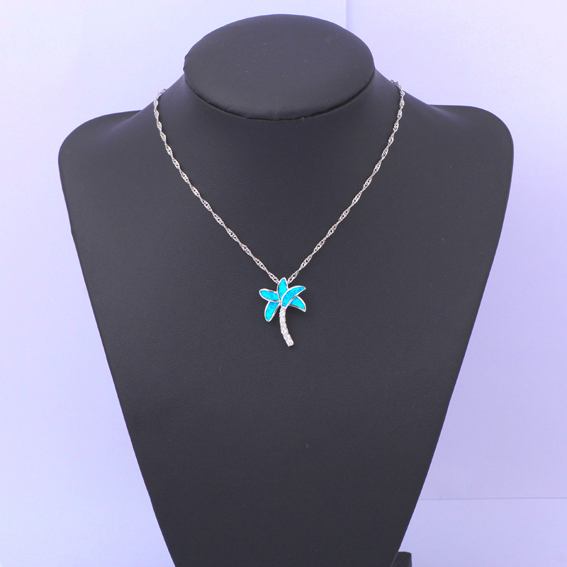 Partai Eceran grosir Pohon desain Biru Fire Opal Perak Stamped Kalung - Perhiasan fashion - Foto 4