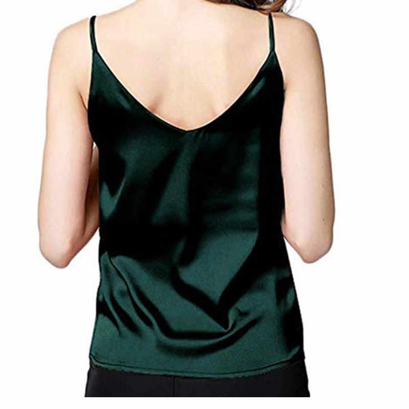 Camisa de verão feminina sexy de seda das senhoras camisa de fundo com decote em v recortado feminino camiseta de cetim macio tanque superior colheita w3
