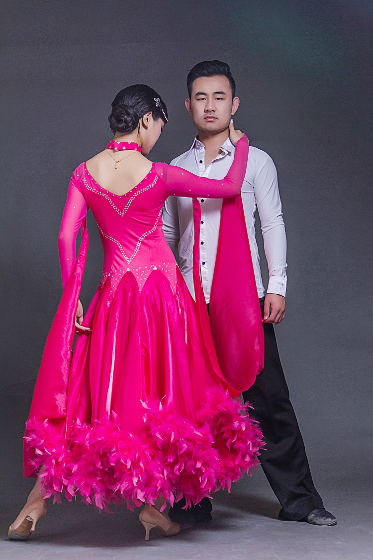 promotion feather wedding dresses promotion wedding dress with feathers new big wing red feather modern dance dress for performance woman long sleeves waltz tango ballroom Dance competition Costume
