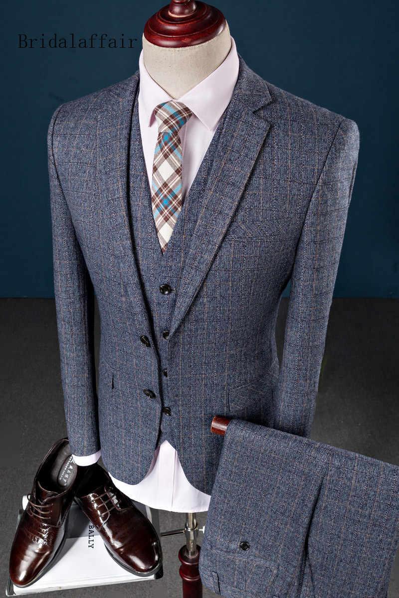 Bridalaffair 2018 Classic Men Suit 3 Pieces Terno Masculino Two Buttons Plaid Suits Business Casual Style Slim Fit Jacket Pants